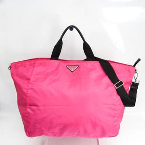 プラダ(Prada) レディース レザー,ナイロン ハンドバッグ,ショルダーバッグ ブラック,ピンク