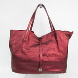 Tiffany Reversible Women's Leather,Suede Tote Bag Dark Red,Metallic Red