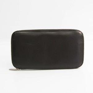 Valextra V9L06 Unisex  Calfskin Long Wallet (bi-fold) Dark Brown