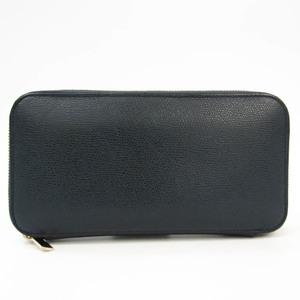 Valextra Zip Purse 12 Card V9L21 Unisex Leather Long Wallet (bi-fold) Navy