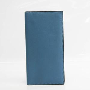 Valextra Vertical 12 Card V8L21 Men's Leather Long Bill Wallet (bi-fold) Blue