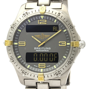 ブライトリング(Breitling) エアロスペース クォーツ チタン,K18イエローゴールド(K18YG) メンズ スポーツウォッチ F56062
