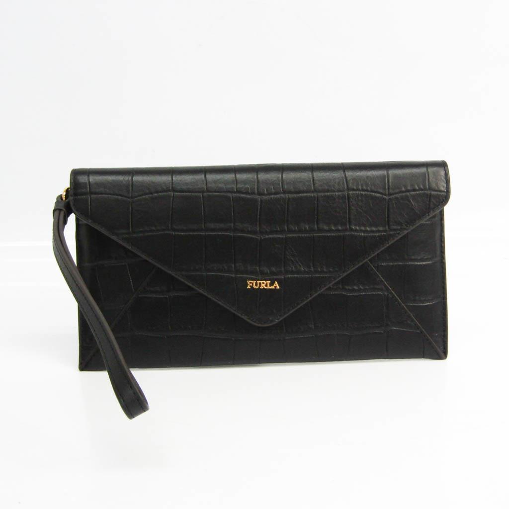 フルラ(Furla) レディース  型押しレザー 長財布(二つ折り) ブラック