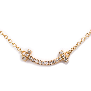 ティファニー(Tiffany) K18ピンクゴールド(K18PG) ダイヤモンド メンズ,レディース ペンダントネックレス T スマイル  ミニ ダイヤモンド ネックレス