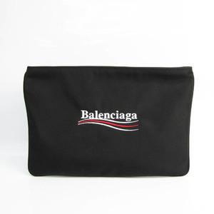 バレンシアガ(Balenciaga) ロゴ 535334 ユニセックス ナイロンキャンバス クラッチバッグ ブラック