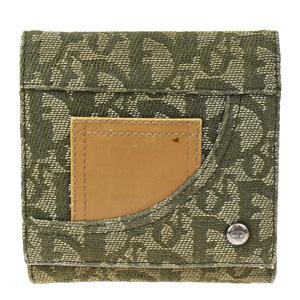 クリスチャン・ディオール(Christian Dior) トロッター レディース キャンバス,レザー 財布(三つ折り) グリーン