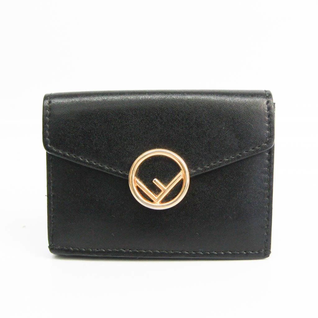 フェンディ(Fendi) F IS FENDI MICRO TRIFOL WALLET 8M0395 ユニセックス レザー 財布(三つ折り) ブラック