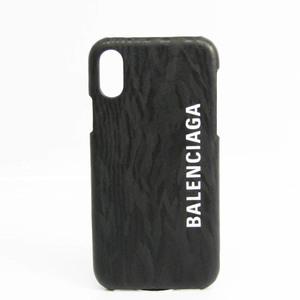 バレンシアガ(Balenciaga) ロゴ 585828 レザー スキンシール iPhone X 対応 ブラック,ホワイト