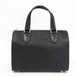 Valextra Mini Boston V5C14 Women's Leather Handbag Black