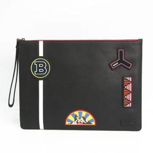 バリー(Bally) ロゴ ワッペン イラスト メンズ レザー,PVC クラッチバッグ ブラック,マルチカラー