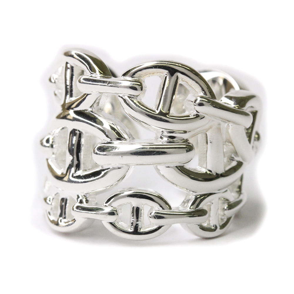 Hermes Chain D'Ancre Enchainee Ring Large Size Silver 925 Band Ring