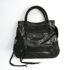 Balenciaga The Mid Afternoon 168026 Women's Leather Handbag Black