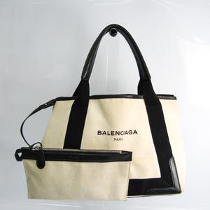 Balenciaga Navy Cabas S 339933 Women's Canvas,Leather Handbag Black,Cream