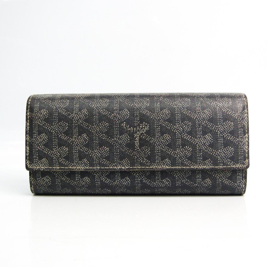 ゴヤール(Goyard) ヴァレンヌ ユニセックス レザー,コーティングキャンバス 長財布(二つ折り) グレー,ホワイト
