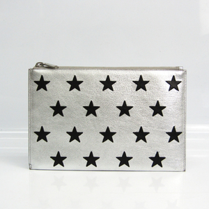 Saint Laurent Star 397303 Unisex Leather Clutch Bag Black,Silver