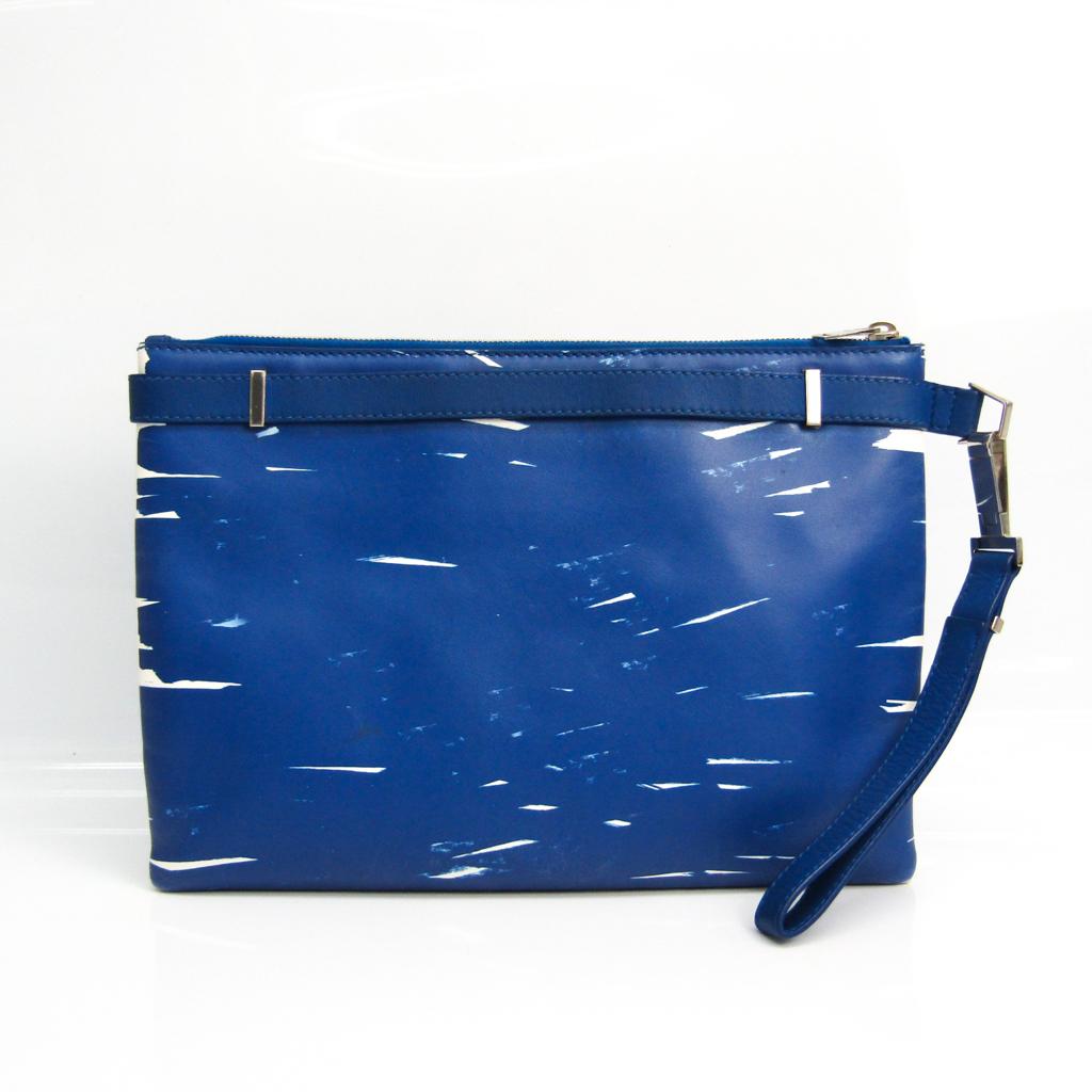 バレンシアガ(Balenciaga) ィリアスクリップ 358308 ユニセックス レザー クラッチバッグ ブルー,ホワイト