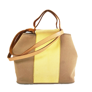 Auth Hermes Cabag KabakPM □P Stamp Women's Canvas Tote Bag Beige,Yellow