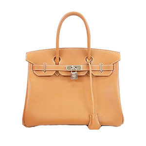 Auth Hermes Birkin30 □L Stamp Women's Togo Leather Handbag Brown
