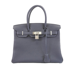 Auth Hermes Birkin30 Z Stamp Women's Togo Leather Handbag Navy