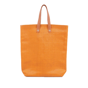 Auth Hermes Ahmedabad Tote Bag Women's Cotton,Leather Tote Bag Orange