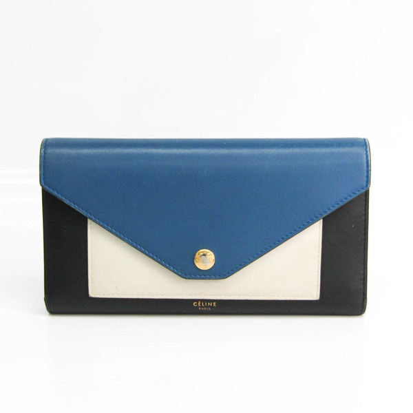 Celine Pocket Tri-folded Multifunction Women's Leather Long Wallet (tri-fold) Black,Cream,Navy
