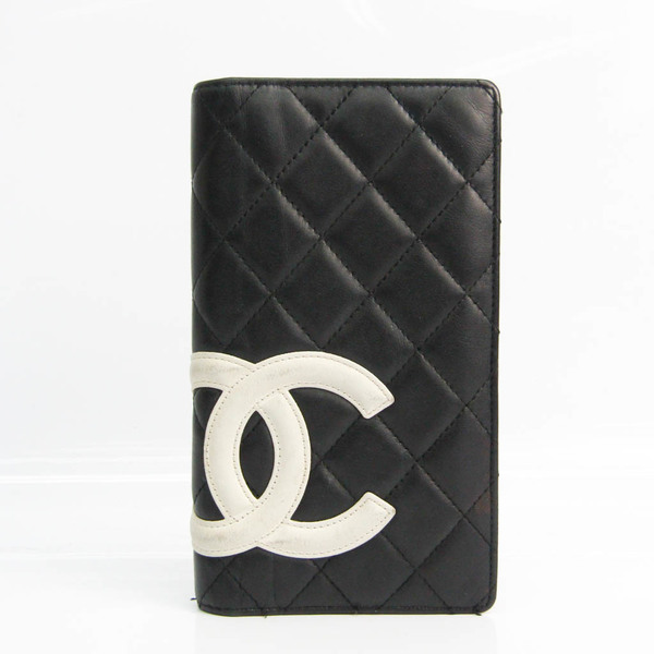 Chanel Cambon A26717 Women's Leather Long Wallet (bi-fold) Black,White