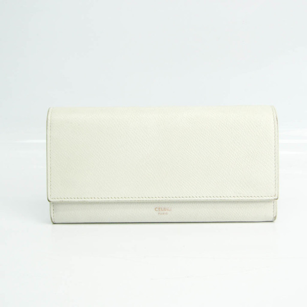 Celine Large Flap Wallet 10B563BEL Women's Leather Long Wallet (bi-fold) White