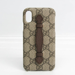 Gucci GG Supreme Phone Bumper For IPhone X Beige,Dark Brown Ophidia 587649