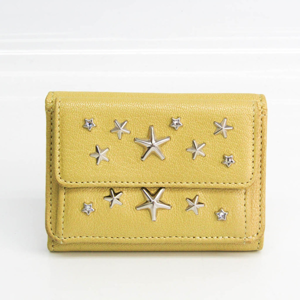 Jimmy Choo Nemo Women's Leather Studded Wallet (tri-fold) Yellow