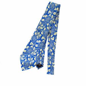 シャネル(Chanel) メンズ ネクタイ シルク フラワーズ ブルー