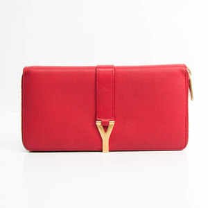 Saint Laurent LIGNE Y 314991 Women's Leather Long Wallet (bi-fold) Red Color