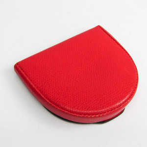 Valextra Unisex Leather Coin Purse/coin Case Red Color