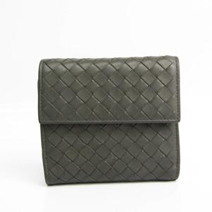 ボッテガ・ヴェネタ(Bottega Veneta) イントレチャート ユニセックス レザー 財布(二つ折り) ダークグレー