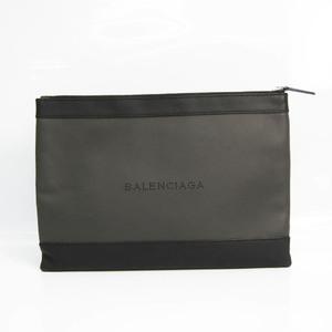 バレンシアガ(Balenciaga) ネイビークリップM 373834 ユニセックス レザー クラッチバッグ ブラック,ダークグレー