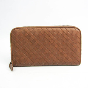 ボッテガ・ヴェネタ(Bottega Veneta) イントレチャート 114076 ユニセックス レザー 長財布(二つ折り) ブラウン