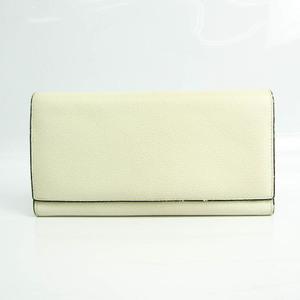 Valextra Unisex Leather Long Wallet (bi-fold) Cream