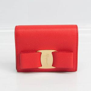 サルヴァトーレ・フェラガモ(Salvatore Ferragamo) ヴァラ リボン JL-22 D515 レディース レザー 財布(二つ折り) レッド