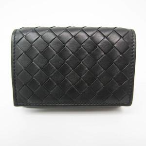 ボッテガ・ヴェネタ(Bottega Veneta) イントレチャート 515385 ユニセックス レザー 財布(三つ折り) ブラック,グレー