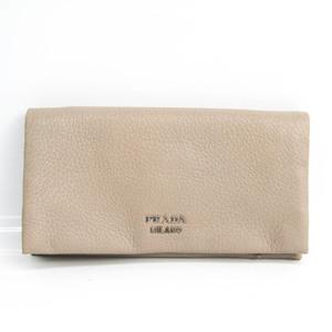 プラダ(Prada) CERVO 1MS001 レディース レザー 長財布(二つ折り) グレージュ