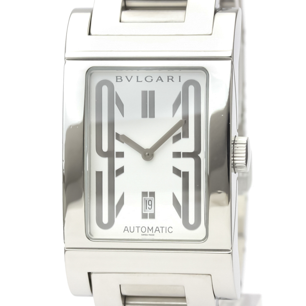 【BVLGARI】ブルガリ レッタンゴロ ステンレススチール 自動巻き メンズ 時計 RT45S