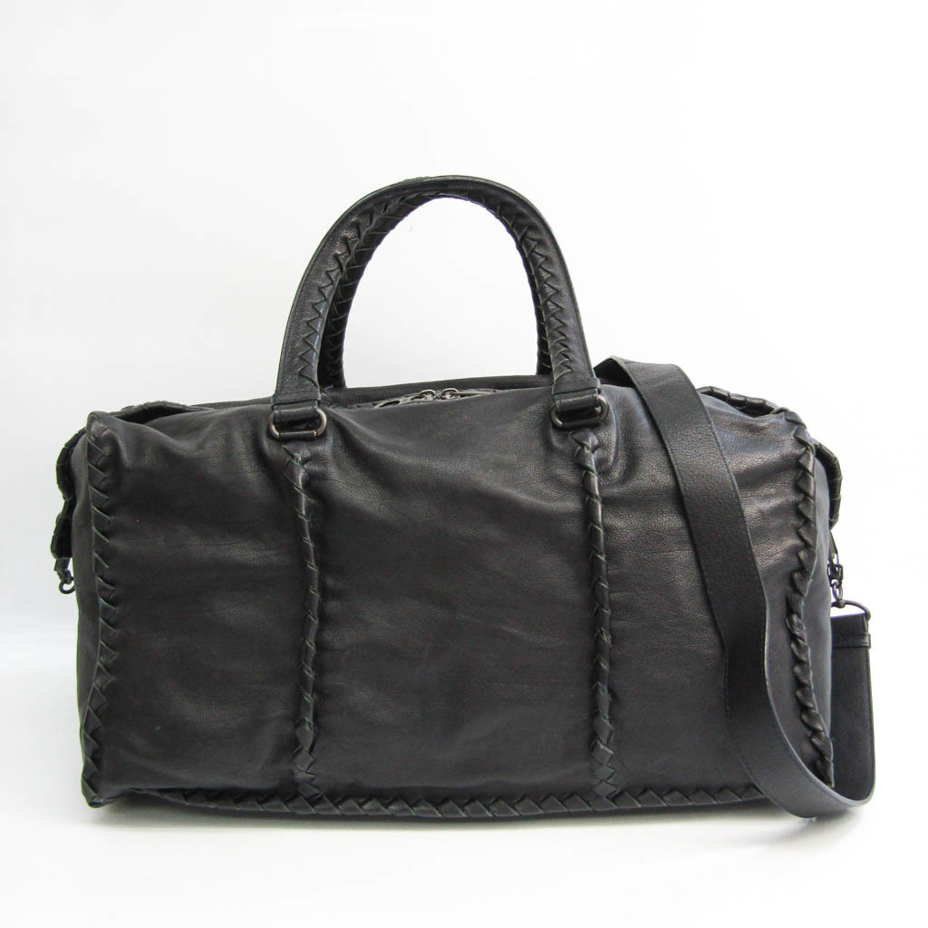 Bottega Veneta Intrecciato Unisex Leather Boston Bag Black