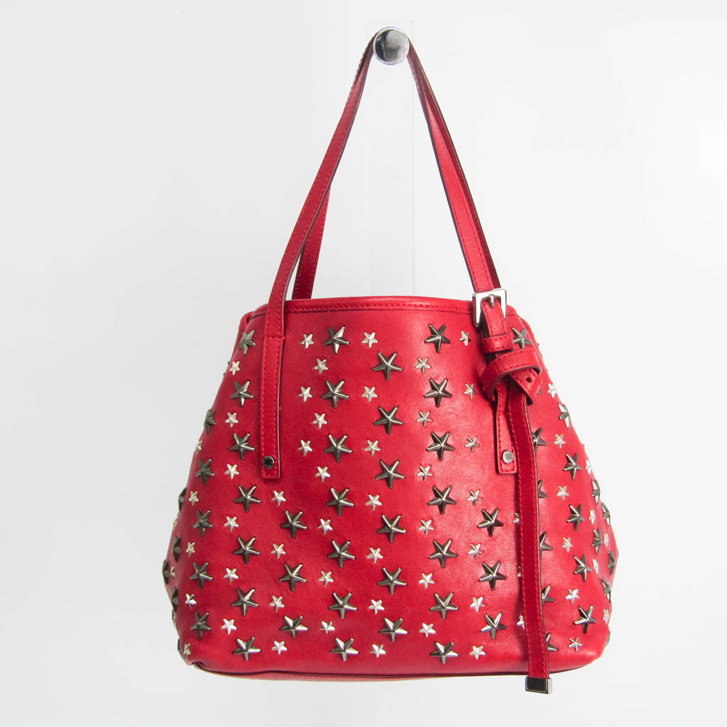 Jimmy Choo Sasha S Women's Leather Studded Tote Bag Red Color