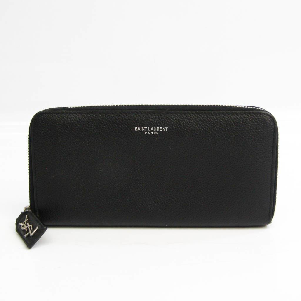 Saint Laurent 414680 Women's  Calfskin Long Wallet (bi-fold) Black