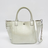 Tiffany Women's Leather Handbag,Shoulder Bag Cream,Silver