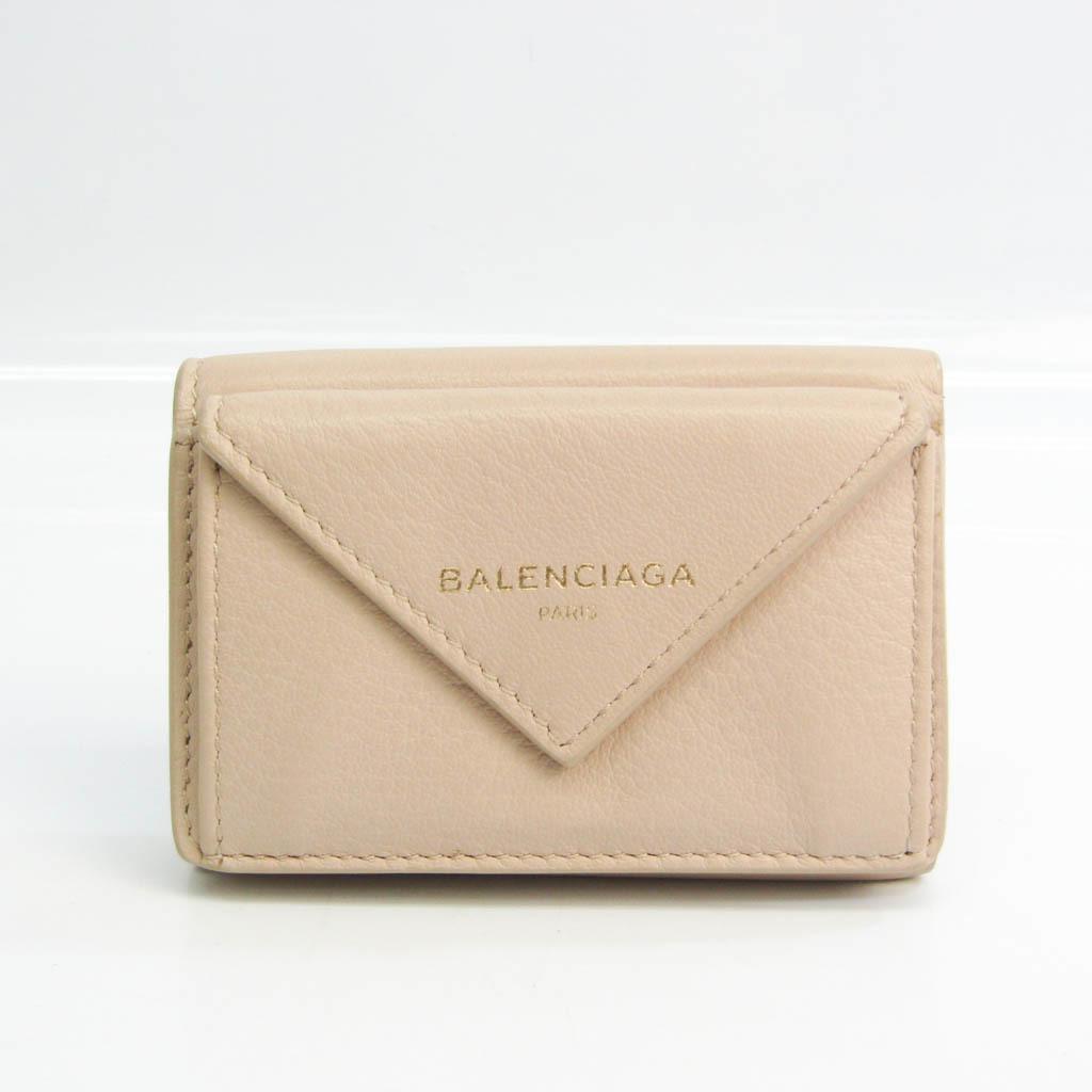 バレンシアガ(Balenciaga) ペーパー ミニウォレット 391446 レディース レザー 財布(三つ折り) ライトベージュ