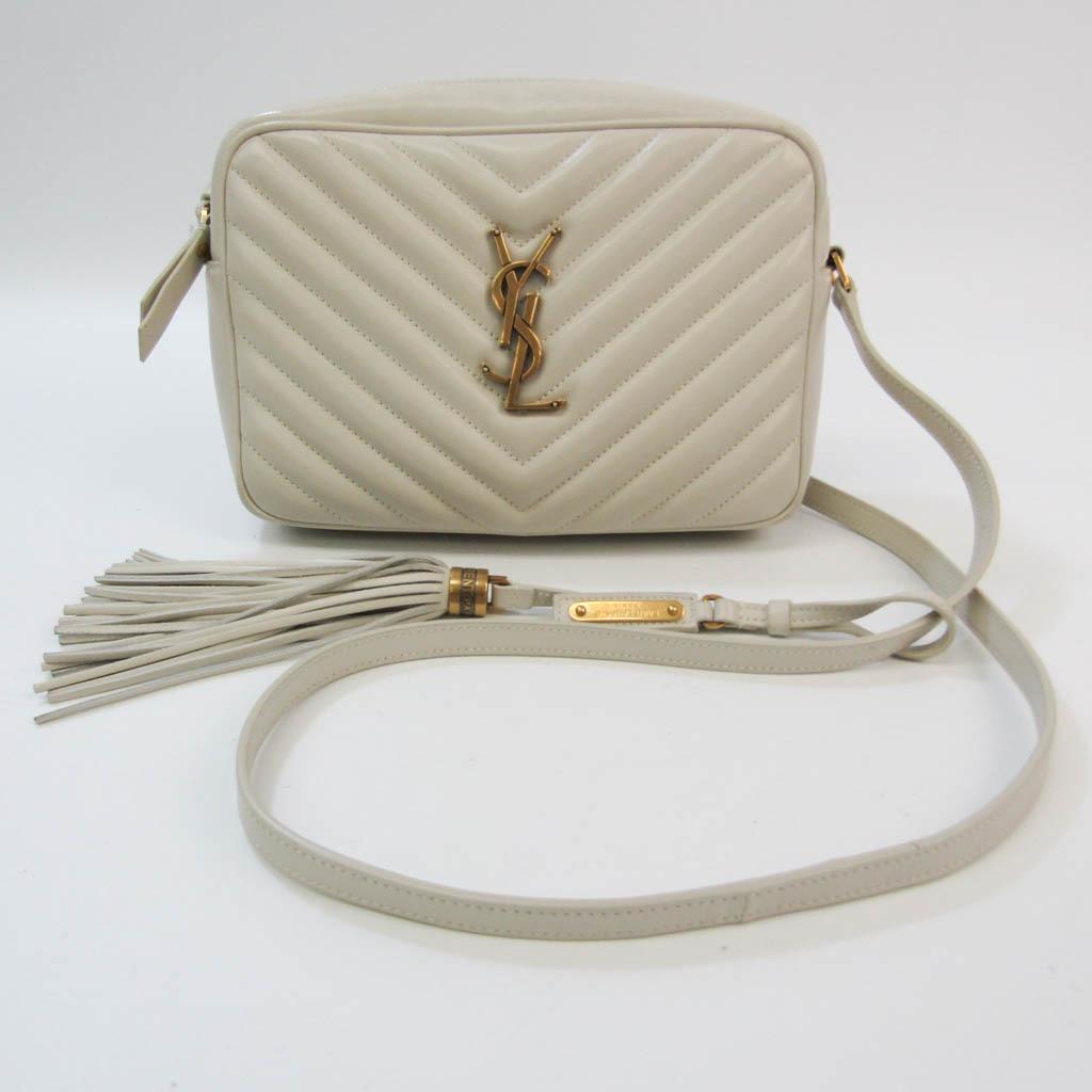 Saint Laurent Lou Camera Bag Fringe 520534 Women's Leather Shoulder Bag Off-white