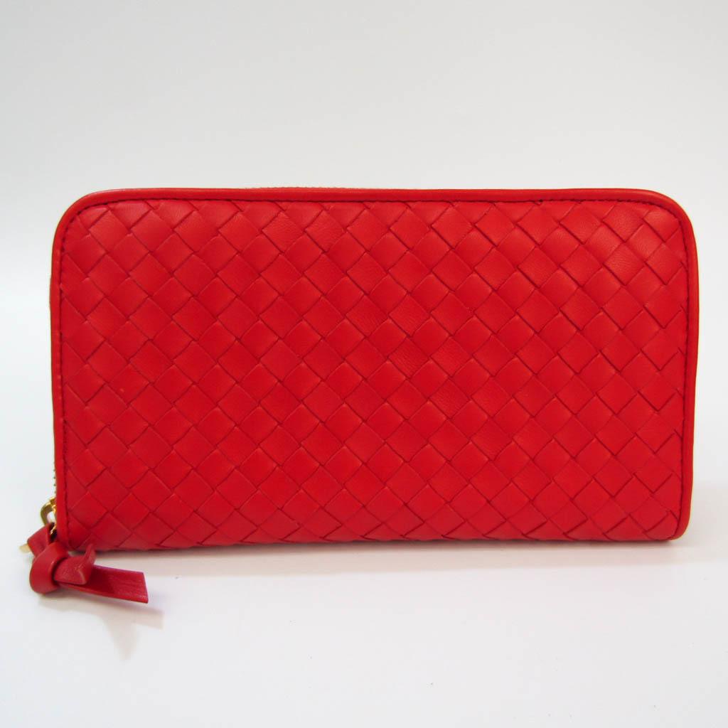 ボッテガ・ヴェネタ(Bottega Veneta) イントレチャート 114076 レディース レザー 長財布(二つ折り) レッド