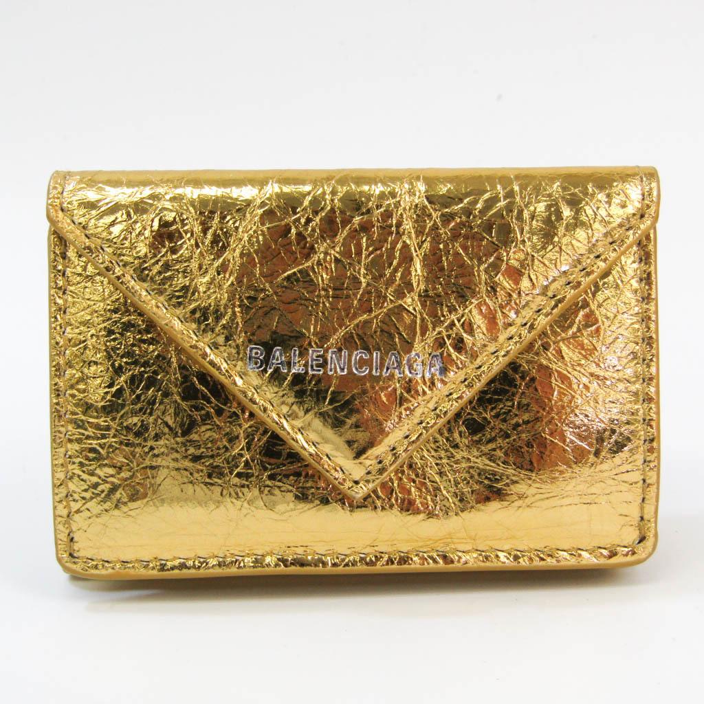 バレンシアガ(Balenciaga) ペーパー ミニウォレット 391446 レディース レザー 財布(三つ折り) ゴールド
