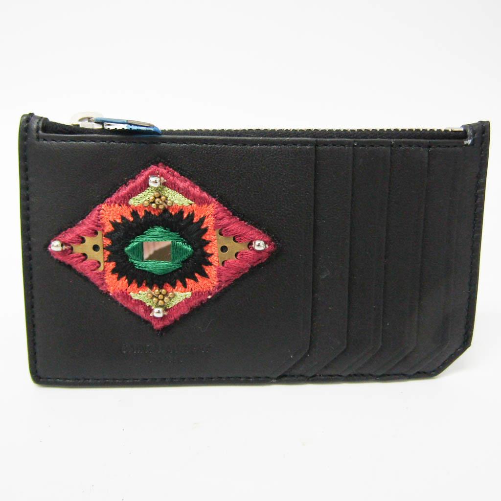 Saint Laurent Card Case 458593 Unisex Leather Coin Purse/coin Case Black