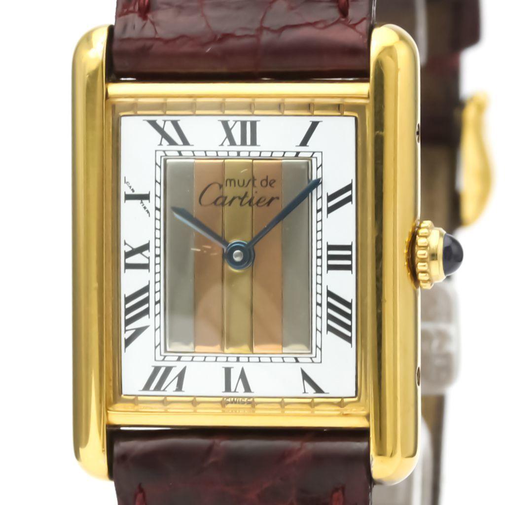 Cartier Must Tank Quartz Gold Plated Unisex Dress Watch 590005